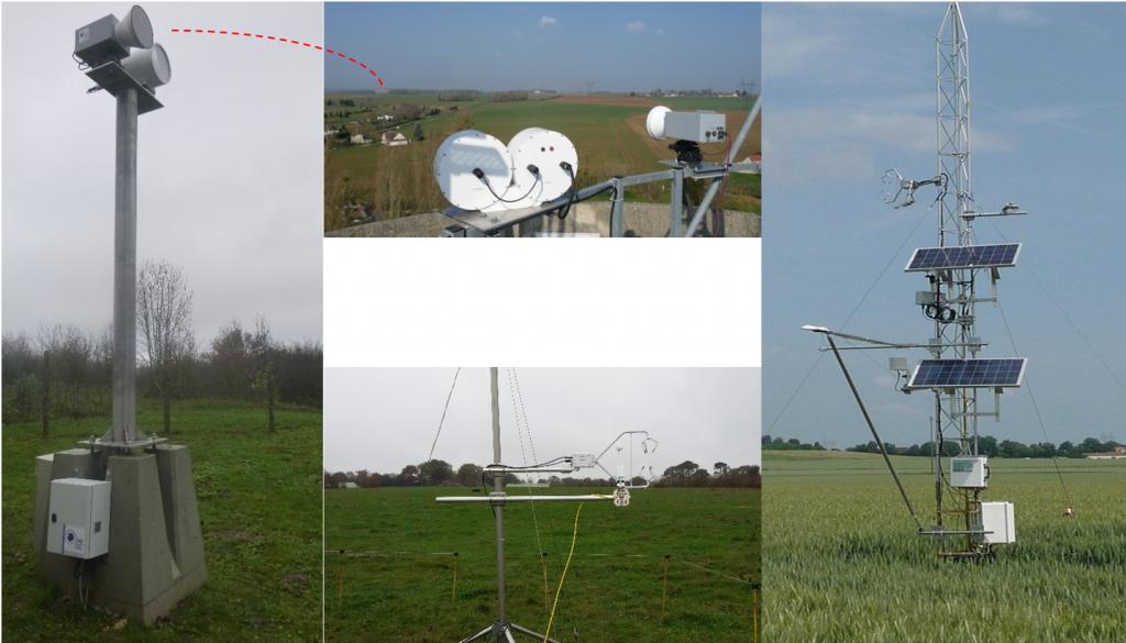 Haut et gauche : émetteurs et récepteurs des scintillomètres infrarouge et micro-onde installés sur l'Orgeval (le pointillé rouge montre la position des récepteurs vue depuis les émetteurs) ; droite : tour de flux sur l'Orgeval (culture de blé en 2015) ; bas : tour de flux sur la parcelle de prairie à Naizin.